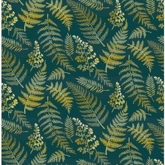 Jacquard polyester vert émeraude imprimé fougères