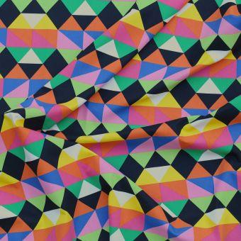 Tissu coton épais bachette triangles multicolores