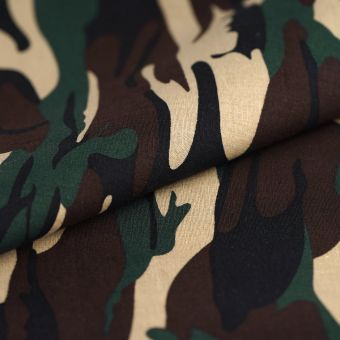 Tissu popeline coton camouflage noir marron