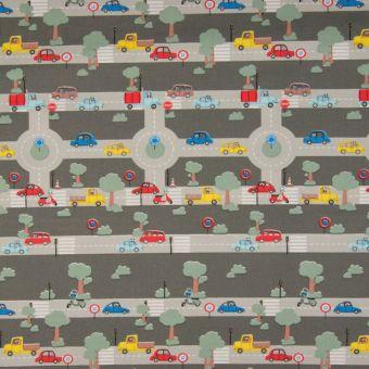 Tissu popeline coton gris voitures