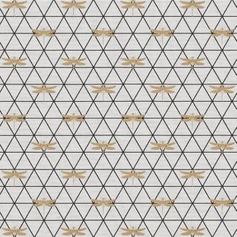 Tissu Jacquard blanc motifs losanges graphiques et libellules