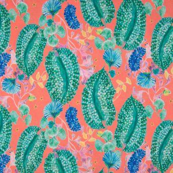 Tissu crêpe de polyester corail et turquoise motif flore océane
