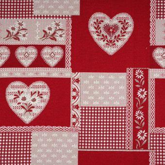 Tissu jacquard rouge cœurs grande largeur