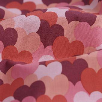 Tissu cretonne bio coeur love