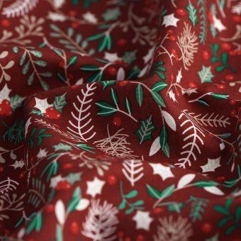 Tissu de Noël cretonne houx