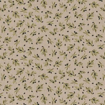Tissu bachette effet lin motifs olives noires