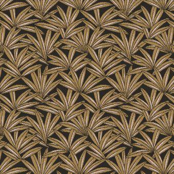 Tissu jacquard polyester à motifs feuilles de palme or