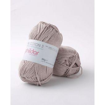 Pelote de coton à tricoter Phildar 3 taupe