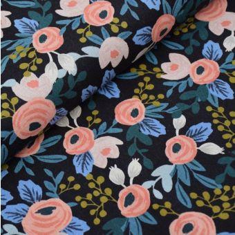 Tissu toile mélangée coton/lin grosses roses fond noir - Rifle Paper