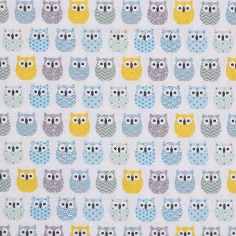 Tissu coton enduit mini hiboux turquoise