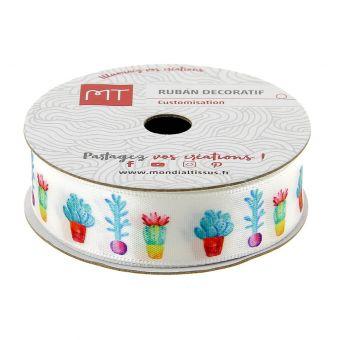 Bobine ruban satin cactus 16 mm