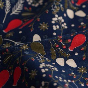 Tissu velours coton gui bleu