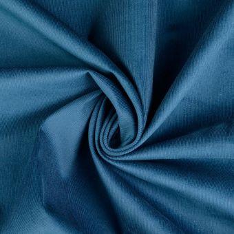 Tissu coton velours côtelé EL bleu canard