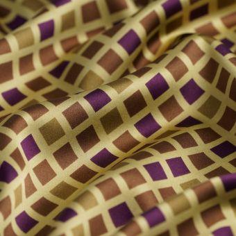 Tissu satin polyester à losanges ocre