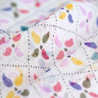 Tissu mousseline polyester fleurs colorées