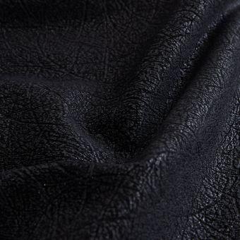 Tissu velours polyester frappé brillant noir