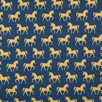 Tissu cretonne bleu licorne or