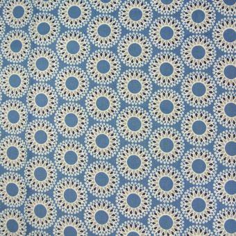 Tissu coton grand Mandala bleu