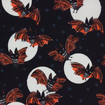Tissu popeline de coton noir chauve-souris Halloween Dashwood Studio
