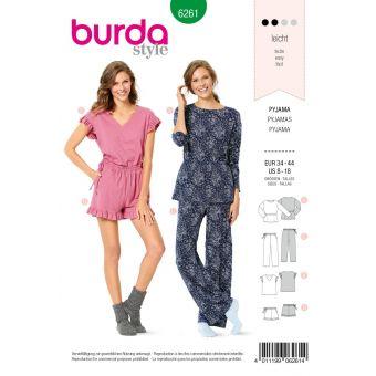 Patron Burda 6261 Pyjama et pyjashort pour femmes du 36 au 46