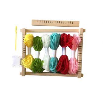 Cadre de tissage en bois avec 6 échevettes de laine 23x17cm
