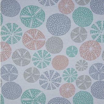 Tissu molleton sweat French Terry coton bio cercles bleu
