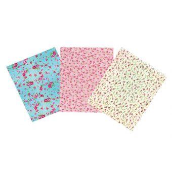Tissu adhésif coupons fleurs 15x20 cm 3 pièces