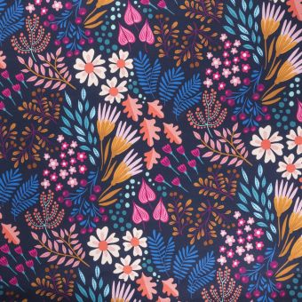 Tissu molleton french terry bio Flower Field bleu - Albstoffe