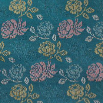 Tissu jacquard fleurs émeraude