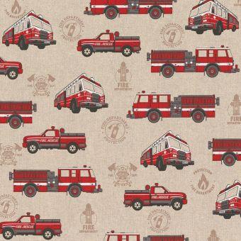 Tissu coton épais camions pompier rouge