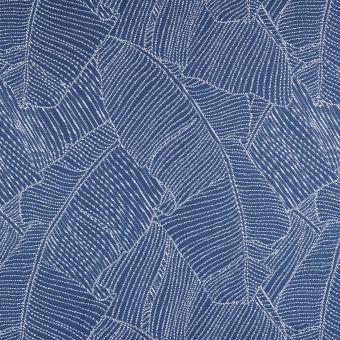 Tissu jacquard bleu déperlant feuilles de bananier