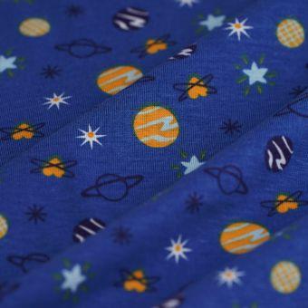 Tissu jersey coton cosmos bleu