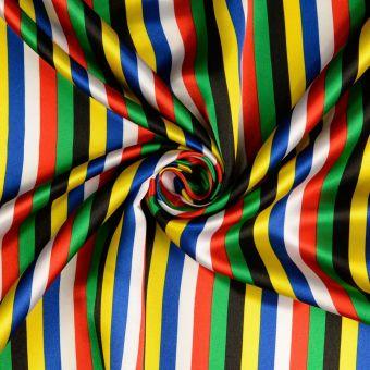 Tissu satin rayures multicolore
