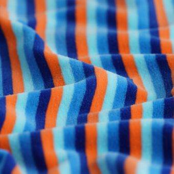 Tissu velours éponge à rayures