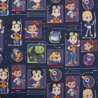 Tissu coton personnages multicolore