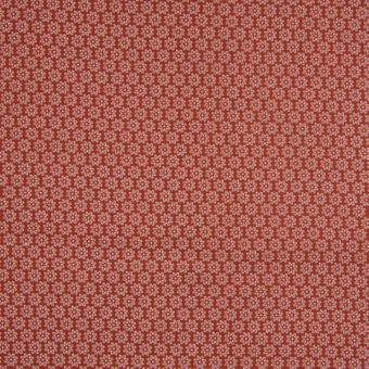 Tissu popeline coton à motifs marguerites terracotta