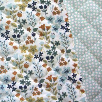 Tissu matelassé coton réversible imprimés fleurs jaune et pois vert menthe