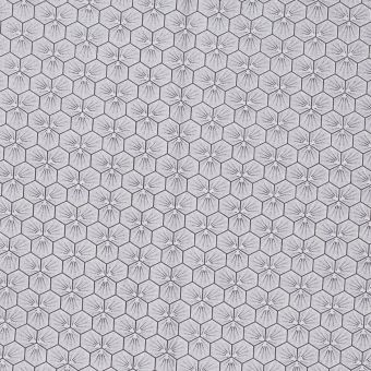 Tissu coton imprimé Riad hexagone argent