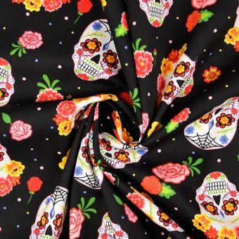 Tissu coton tête de mort déguisée noir