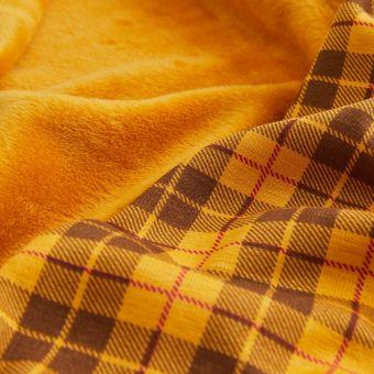 Tissu molleton Alpfleece envers polaire carreaux jaune