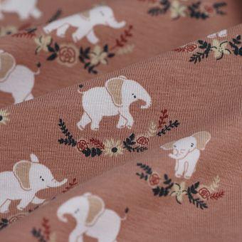 Tissu jersey coton éléphant rose