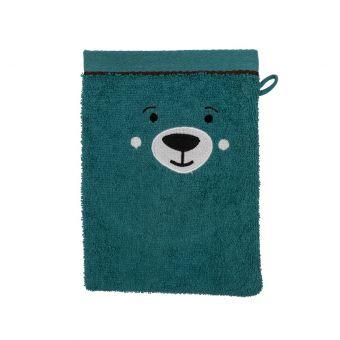 Gant de toilette ours bleu
