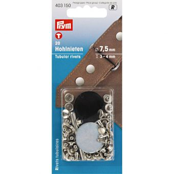 Rivets tubulaires, 3-4mm, argenté, 20 pièces