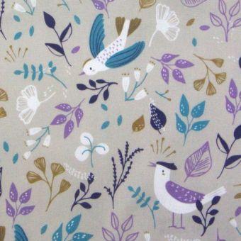 Tissu cretonne coton taupe imprimé plantes et oiseaux violets