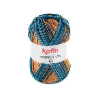 Fil à tricoter Katia Menfis Color bleu ocre