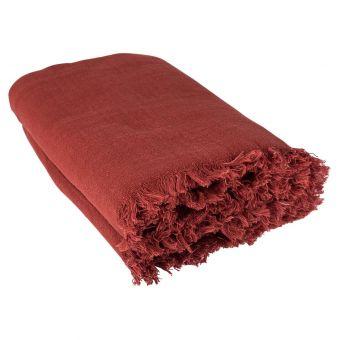 Plaid en coton uni rouge
