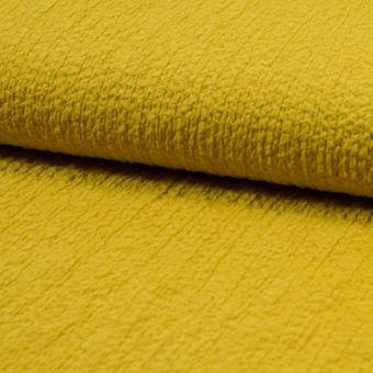 Tissu stretch gaufré jaune safran polyester viscose