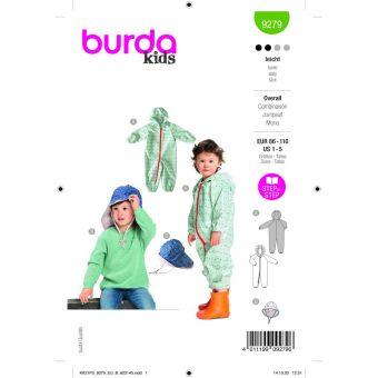 Patron Burda 9279 combinaison + chapeau de 1 à 5 ans