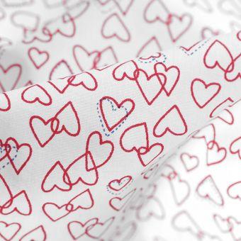 Tissu coton percale bio coeurs rouges