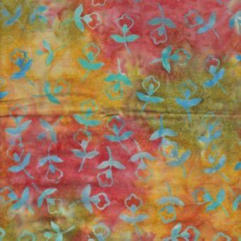 Tissu coton batik petite fleur rouge